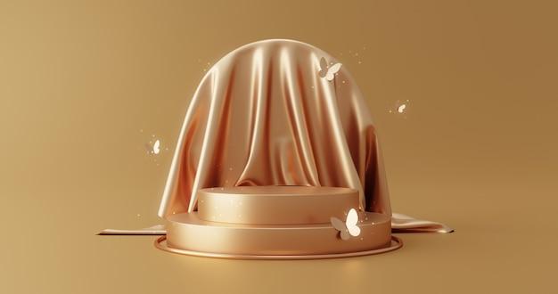 Gold-luxus-stoff-produktdisplay oder eleganz-podestsockel auf goldenem stoffhintergrund der schönheit mit schmetterlings-präsentationshintergründen und vorlage 3d-rendering.
