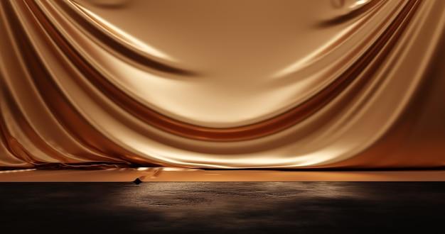 Gold-luxus-vorhang-produkt-hintergrund-stand oder podest-sockel und goldene stoff-design-bühne auf grunge-boden-display-hintergrund mit präsentation. 3d-rendering.
