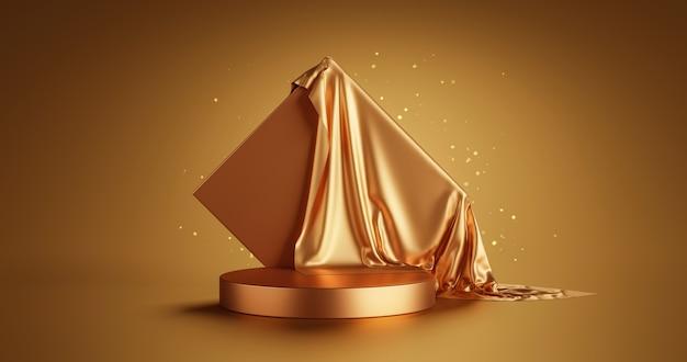 Gold-luxusprodukt-display oder eleganz-podest-sockel auf abstraktem goldenem stoffhintergrund mit präsentationskulissen bühnenvitrine 3d-rendering.
