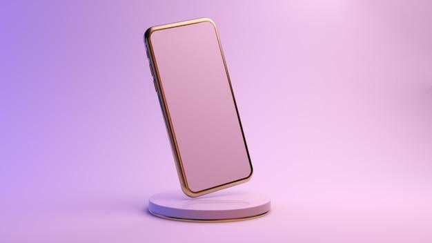 Gold mobile auf einer plattform