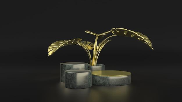 Gold monstera blätter und produkt stehen minimale szene. 3d-illustration. vorderansicht. marmorzylinder lokalisiert auf schwarzem hintergrund.