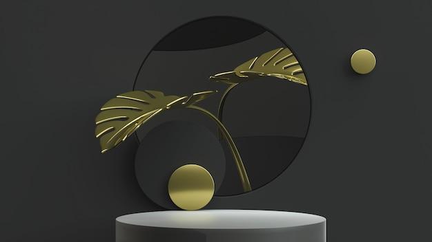 Gold monstera blätter und produkt stehen minimale szene. 3d-illustration. vorderansicht. schwarze schlüsselbeleuchtung der abstrakten geometrie.