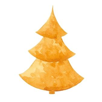 Gold neujahr und weihnachtsbaum clipart isoliert auf weiß gold fichte illustration goldene tanne