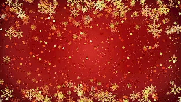 Gold schneeflocken weihnachtshintergrund