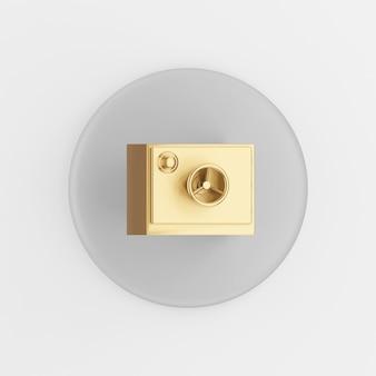 Gold sicheres symbol. grauer runder schlüsselknopf des 3d-renderings, schnittstelle ui ux element.