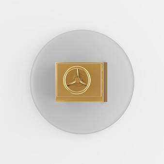 Gold sicheres symbol. runder grauer schlüsselknopf des 3d-renderings, schnittstelle ui ux element.
