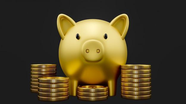Gold sparschwein mit goldmünzen