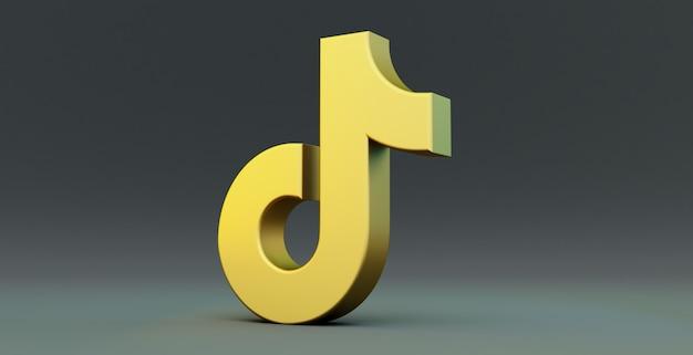 Gold tiktok app symbol isoliert auf einem schwarzen