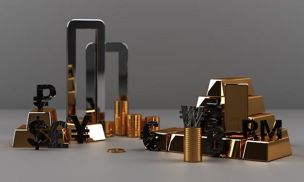 Gold und münzen mit geldwährung und geometrischer 3d-darstellung der marmorbeschaffenheit