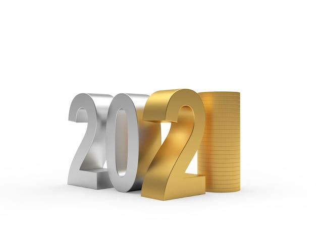 Gold und silber nummer 2021 und stapel münzen