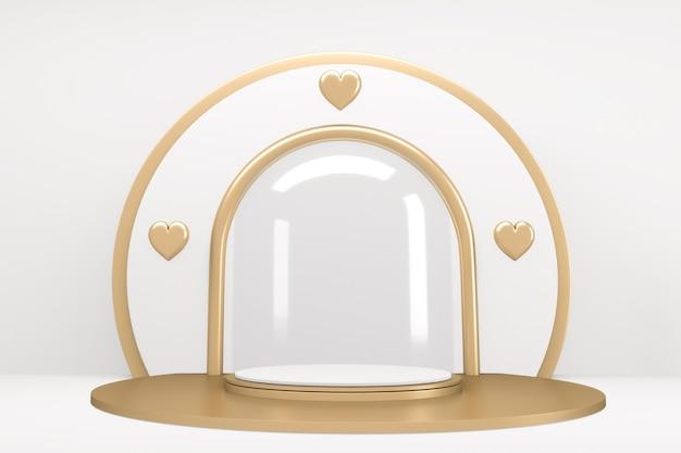 Gold und weiß podium zeigen kosmetikprodukt geometrisch in weißem hintergrund.3d rendering