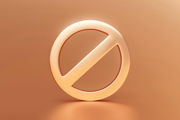Gold verbotenes zeichen oder nicht erlaubte verbotswarnung gefahr kein symbol risiko sicherheitsvorsicht und verbotenes stoppsymbol auf luxuriösem goldenem premium-hintergrund mit aufmerksamkeit verbieten illustration 3d-grafikwarnung.