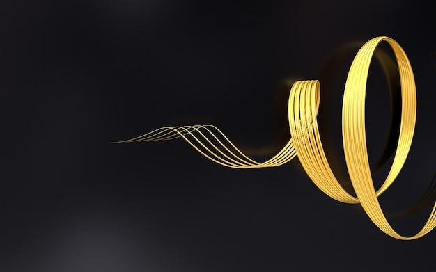 Gold wellenform geometrisches muster abstrakten hintergrund 3d-rendering