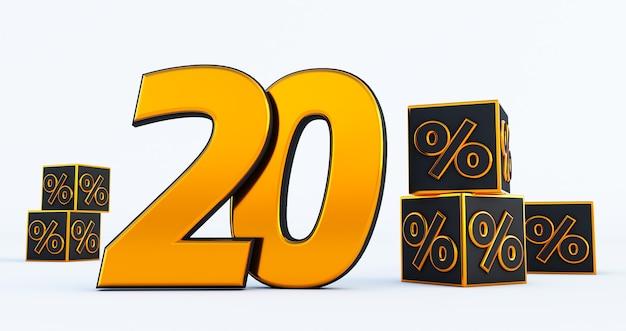Gold zwanzig 20-prozent-zahl mit prozentsätzen der schwarzen würfel lokalisiert auf weißem hintergrund. 3d-rendering