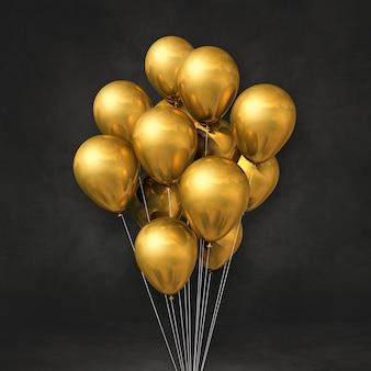 Goldballonbündel an einer schwarzen wand. 3d-darstellung rendern