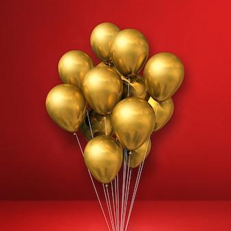 Goldballonbündel auf einem roten wandhintergrund. 3d-illustration rendern