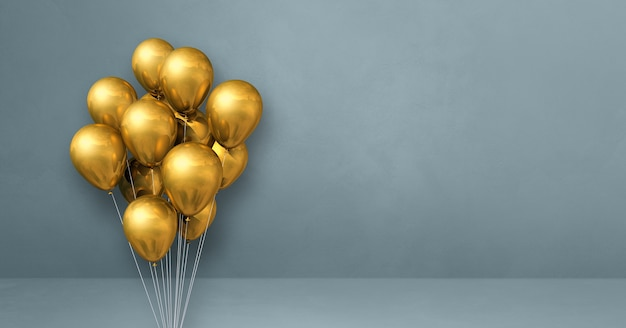 Goldballons bündeln auf einer grauen wand. horizontales banner. 3d-rendering