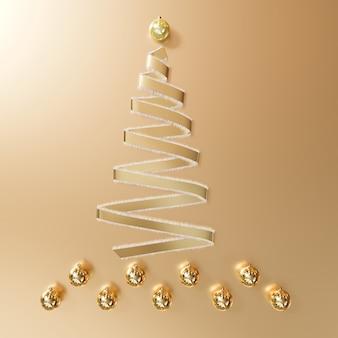 Goldband-weihnachtstagesdekorationsgegenstände formen durch weihnachtsbaum auf gold. minimale idee. 3d-rendering.