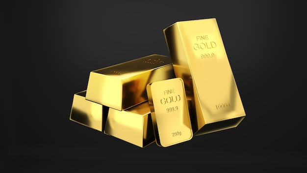 Goldbarren 1000 gramm reines gold, geschäftsinvestitionen und vermögenskonzept. reichtum an gold, 3d-rendering