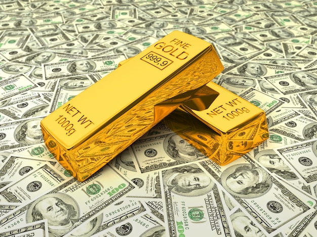 Goldbarren auf dollar