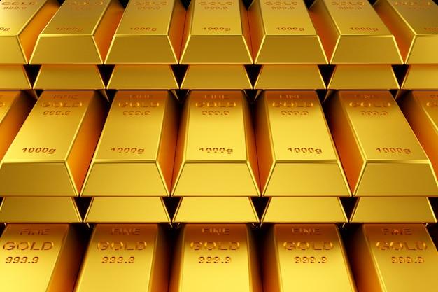 Goldbarren für die website. 3d-rendering von goldbarren.