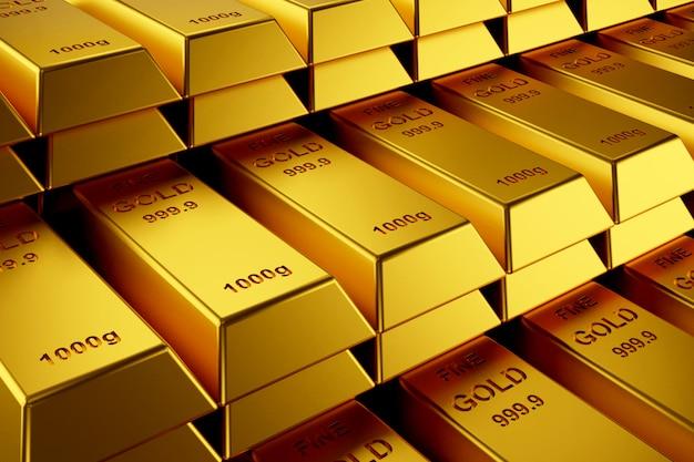 Goldbarren für website-banner. 3d-rendering von goldbarren.