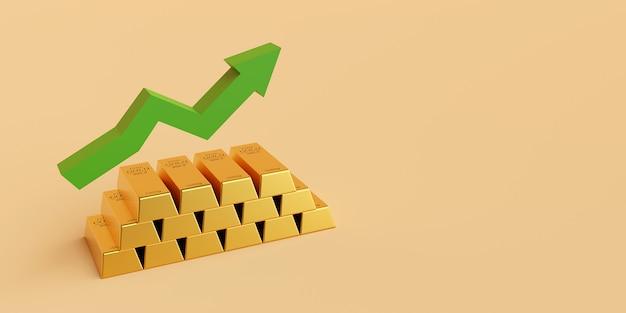 Goldbarren mit pfeil steigen auf, 3d-rendering