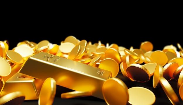 Goldbarren und münzen fallen auf schwarzen 3d-render