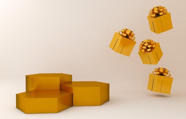 Goldbildschirmanzeige und goldgeschenkboxhintergrund