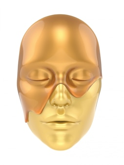 Goldblattmaske auf weißem hintergrund 3d übertragen