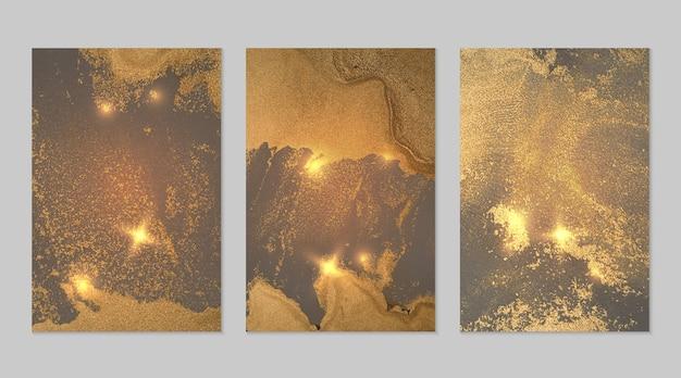 Goldblaue und graue hintergründe mit textur des abstrakten marmorvektors, der in flüssiger kunst der alkoholtinte eingestellt wird