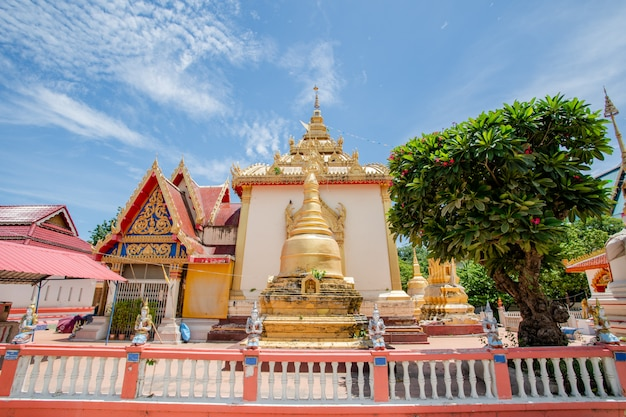 Goldbuddha bild im freien im tempel