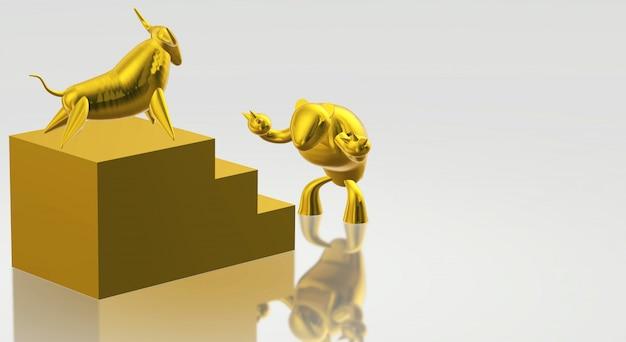 Goldbulle der wiedergabe 3d und bärengeschäftsinhalt.
