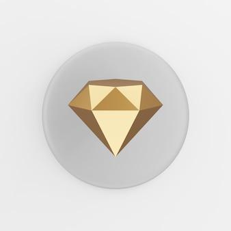 Golddiamantikone. 3d-rendering grauer runder knopfschlüssel, schnittstelle ui ux element.