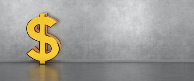 Golddollar-symbol-banner. 3d dollar währungssymbol auf beton