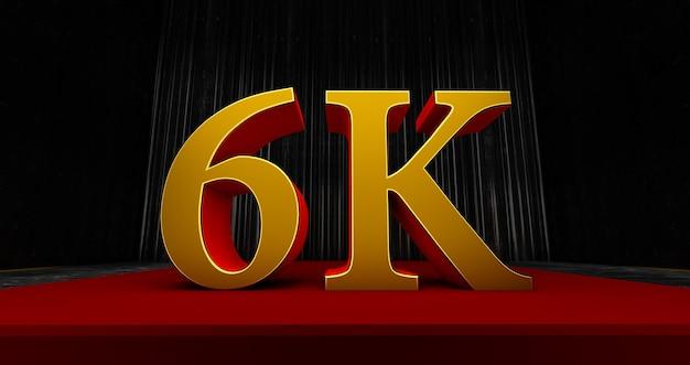 Golden 6k oder 6000 danke, webbenutzer danke, feiern sie von abonnenten oder followern und likes, 3d-rendering