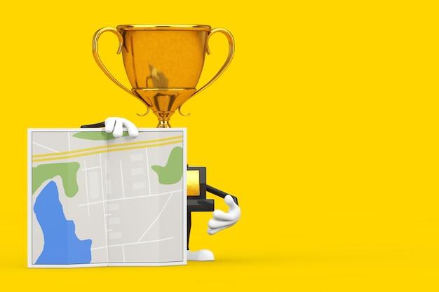 Golden award winner trophy maskottchen person charakter mit abstraktem stadtplan auf gelbem hintergrund. 3d-rendering
