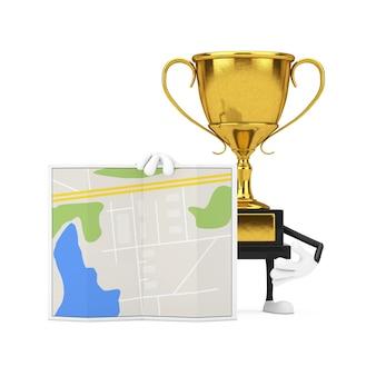 Golden award winner trophy maskottchen person charakter mit abstrakten stadtplan karte auf weißem hintergrund. 3d-rendering