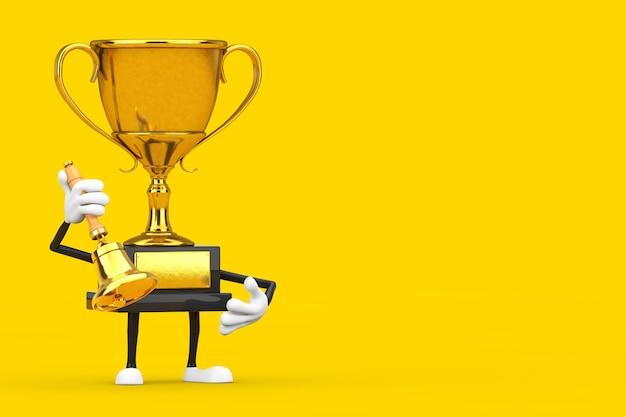 Golden award winner trophy maskottchen person charakter mit vintage golden school bell auf gelbem hintergrund. 3d-rendering