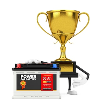 Golden award winner trophy maskottchen person charakter und akku 12v autobatterie mit abstraktem etikett auf weißem hintergrund. 3d-rendering