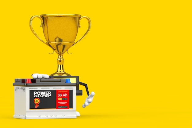 Golden award winner trophy maskottchen person charakter und wiederaufladbare autobatterie 12v akkumulator mit abstraktem etikett auf gelbem hintergrund. 3d-rendering