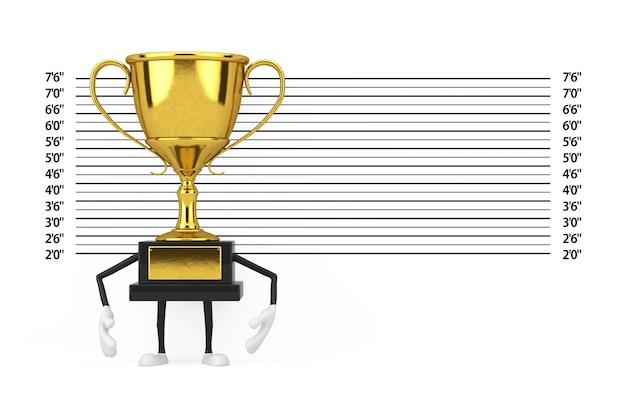 Golden award winner trophy maskottchen person charakter vor polizei lineup oder mugshot hintergrund extreme nahaufnahme. 3d-rendering