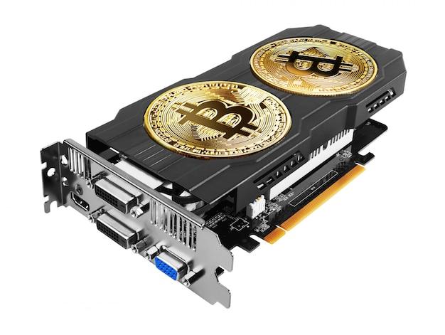 Golden bitcoin auf einer grafikkarte