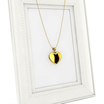 Golden heart medaillon auf kette über leeren bilderrahmen auf weißem hintergrund. 3d-rendering