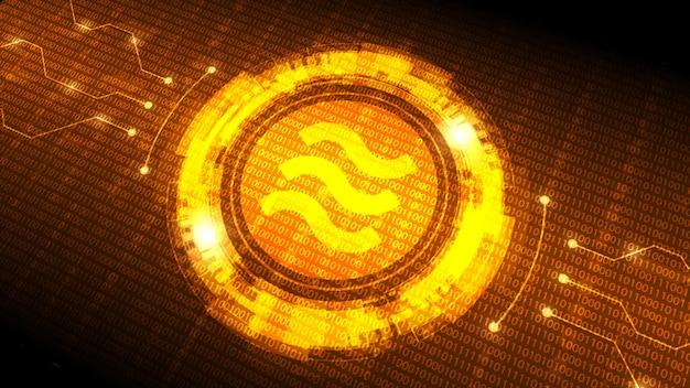 Golden libra münzsymbol mit futuristischer hud-schnittstelle, neue digitale währung
