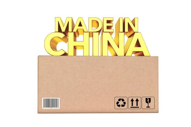 Golden made in china schild über paketkasten auf weißem hintergrund. 3d-rendering.