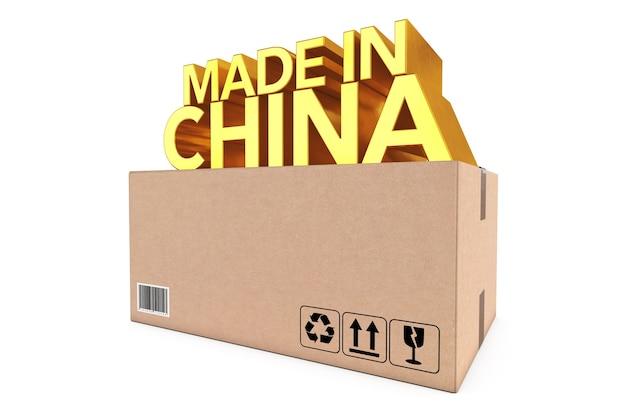 Golden made in china schild über paketkasten auf weißem hintergrund. 3d-rendering. Premium Fotos