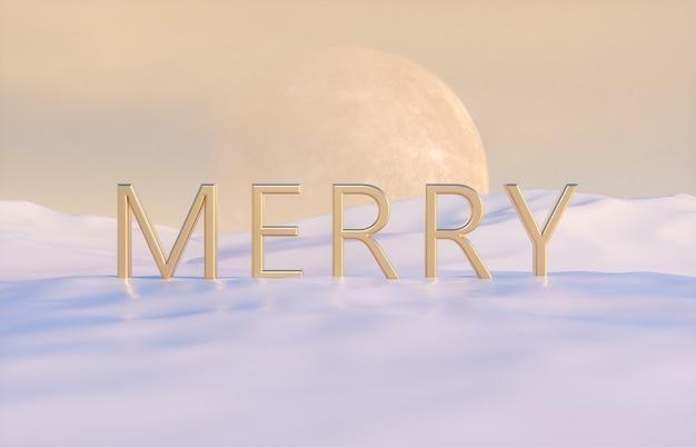 Golden merry phrase mit vollmond auf winterszene.