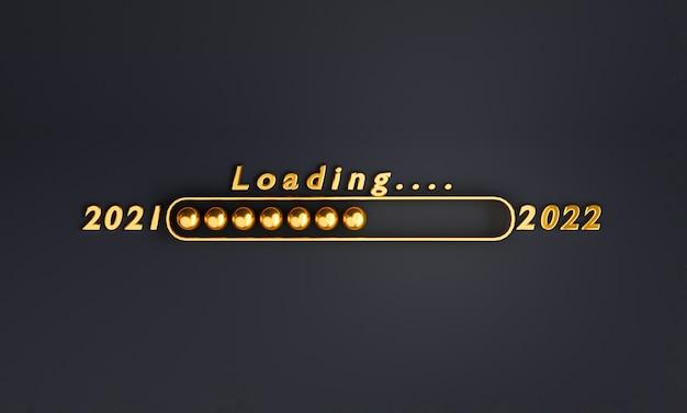 Golden of loading 2021 bis 2022 auf schwarzem hintergrund für die vorbereitung frohe weihnachten und ein glückliches neues jahr durch 3d-rendering.