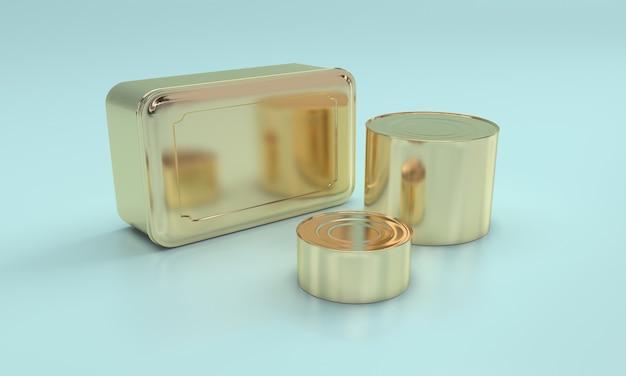 Golden square food in metalldose Premium Fotos